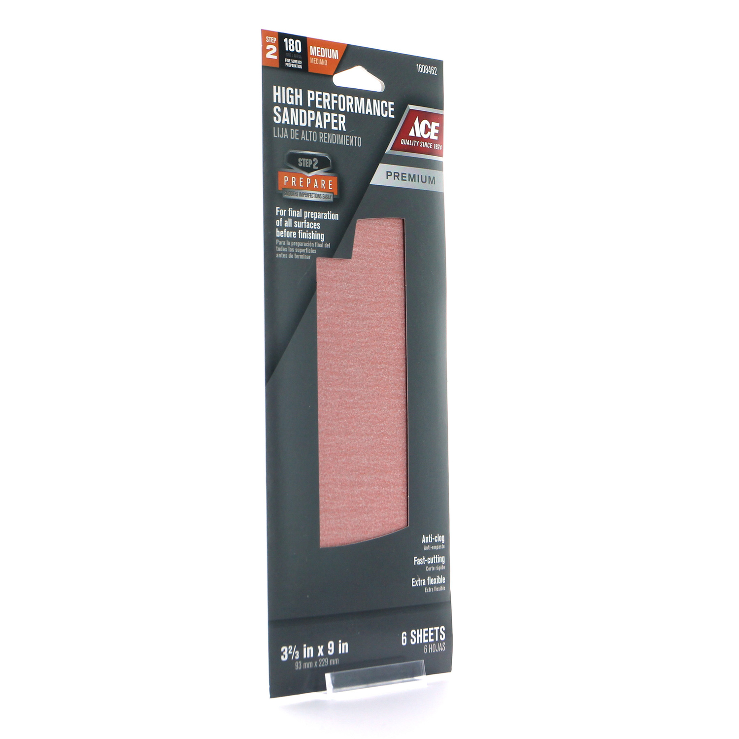 Ace  9 in. L x 3-2/3 in. W Medium  Sandpaper  Aluminum Oxide  6 pk 180 Grit
