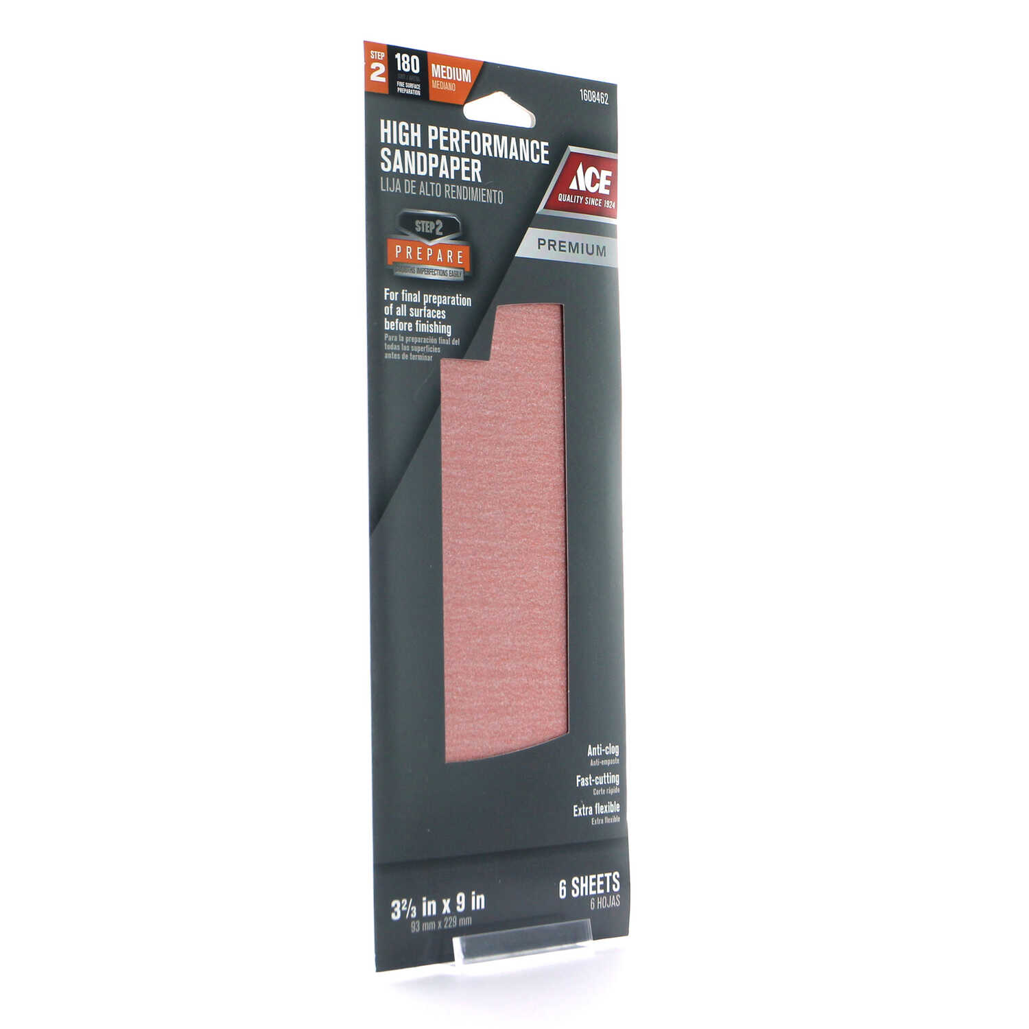 Ace  9 in. L x 3-2/3 in. W 180 Grit Medium  Aluminum Oxide  Sandpaper  6 pk