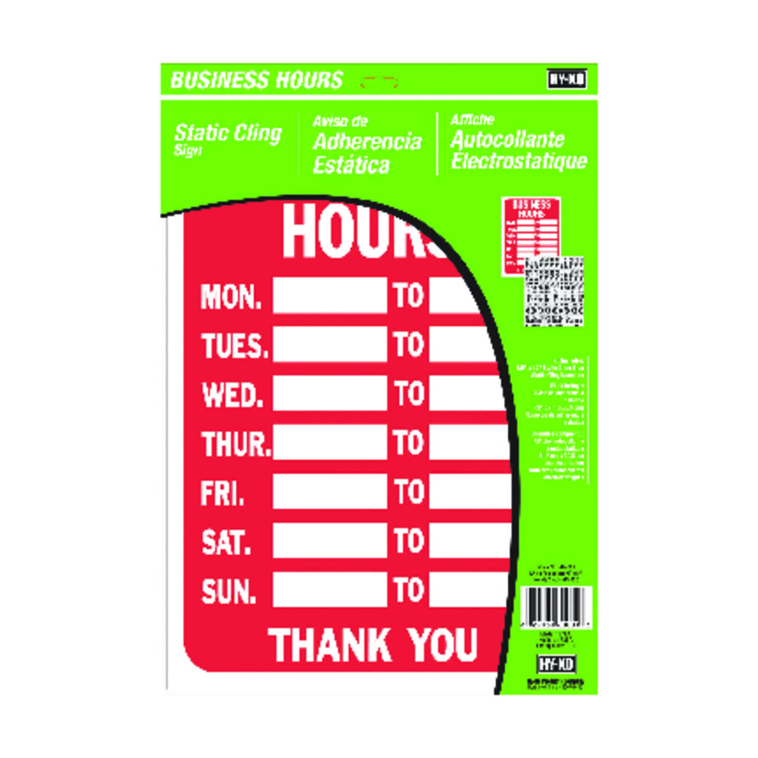 Hy-Ko  English  Business Hours  Static Cling Sign  Plastic  12 in. H x 10 in. W