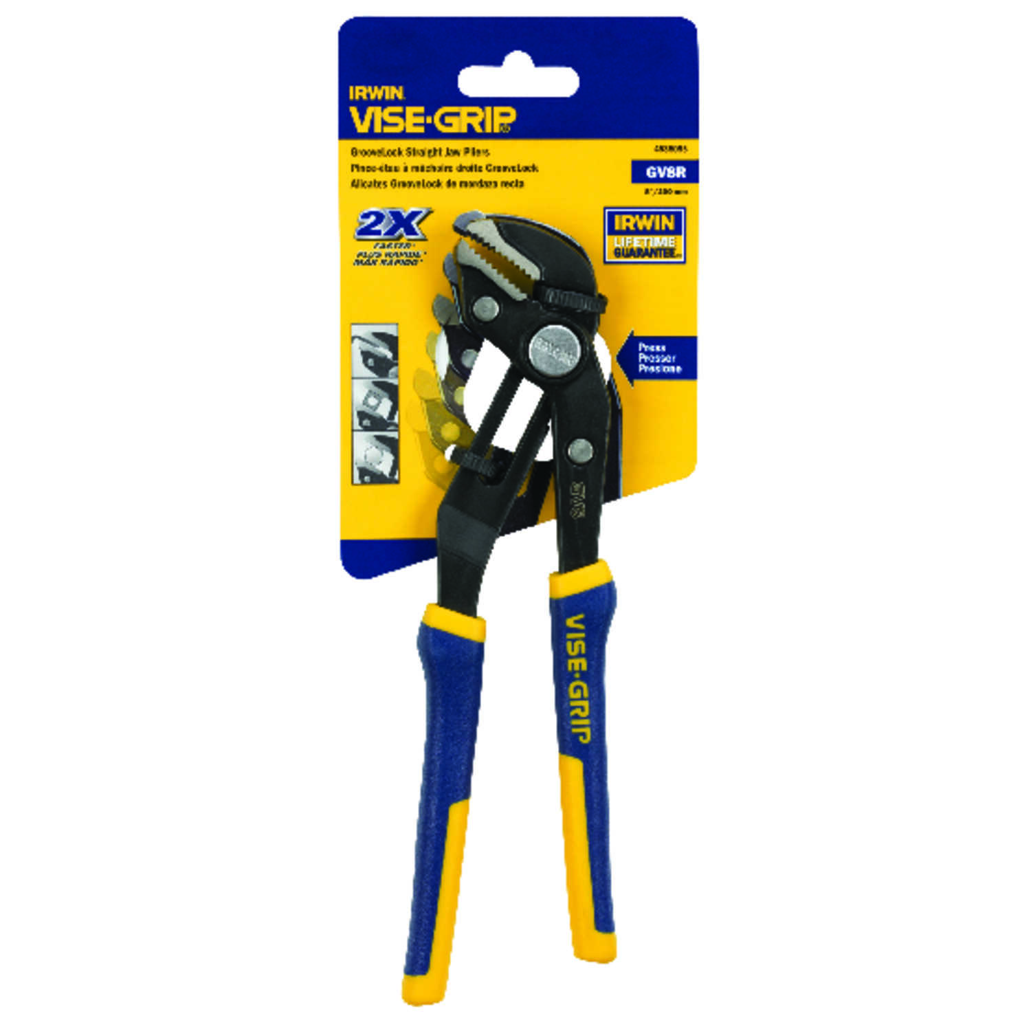 Irwin  Vise-Grip  8 in. Nickel Chrome Steel  Straight Jaw Tongue and Groove Pliers  Blue/Yellow  1 p