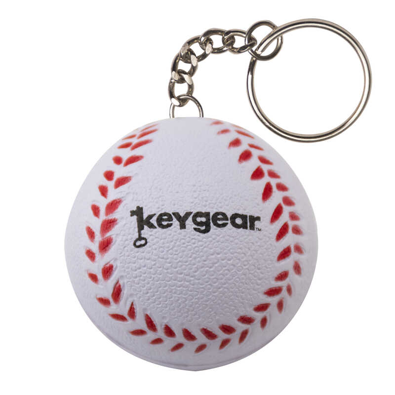 KeyGear  Rubber  White  Stress Base Ball  Key Holder