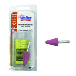 Weiler  Vortec  3/4 in. Dia. x 0.25 in. L Aluminum Oxide  Stem Mounted Point  Cone  30000 rpm 1 pc.