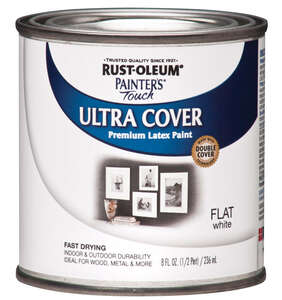 Rust-Oleum  Painters Touch Ultra Cover  Indoor and Outdoor  White  Paint  Flat  0.5 oz.