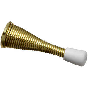 Stanley Hardware  3 in. W Metal  Gold  Mounts to base trim  Spring Door Stop  Bright