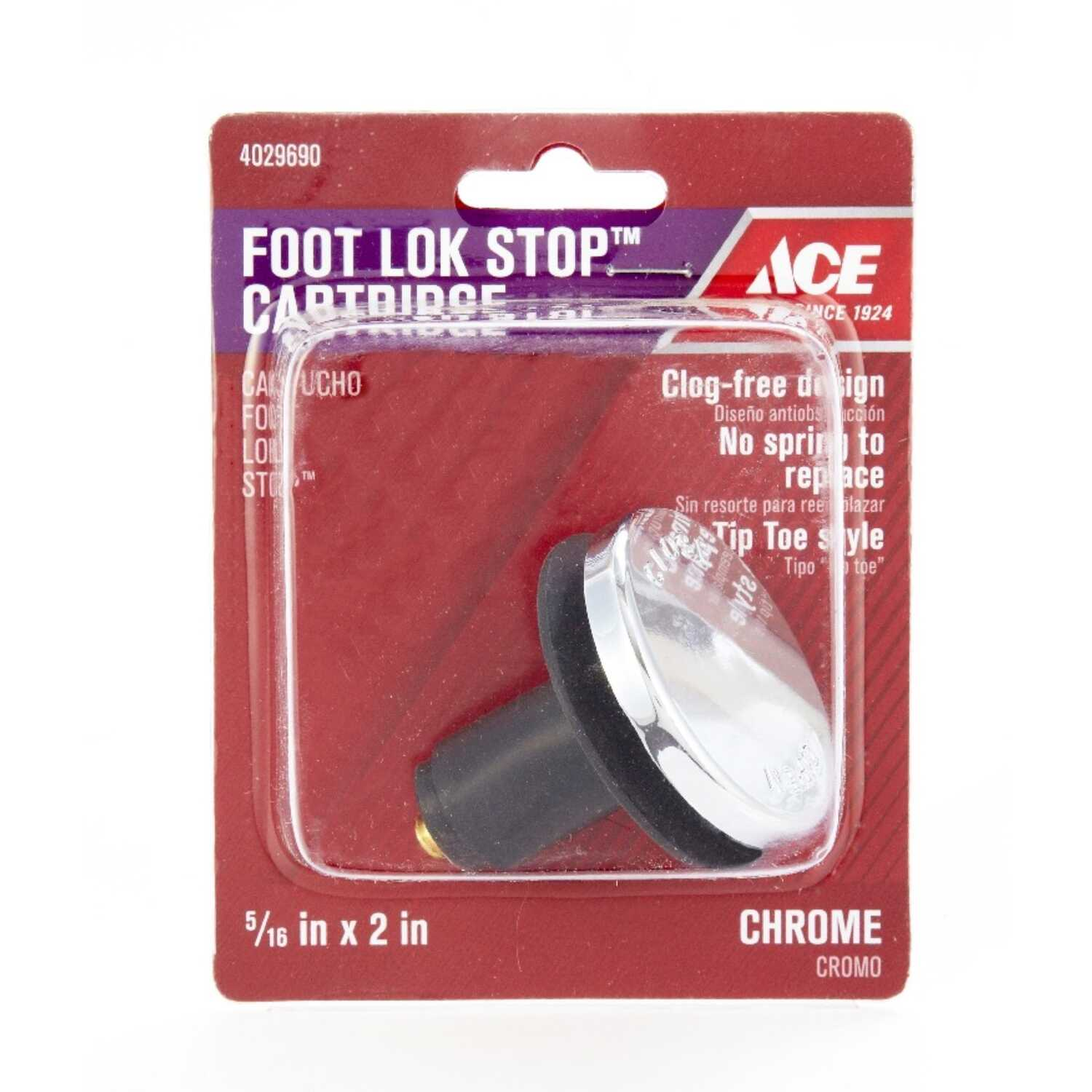 Ace  5/16 in. Dia. Foot Lok Stopper  Chrome  Polished