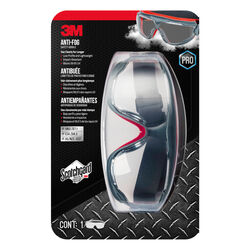 3M  Scotchgard  Anti-Fog Safety Goggles  Clear Lens Gray/Red Frame
