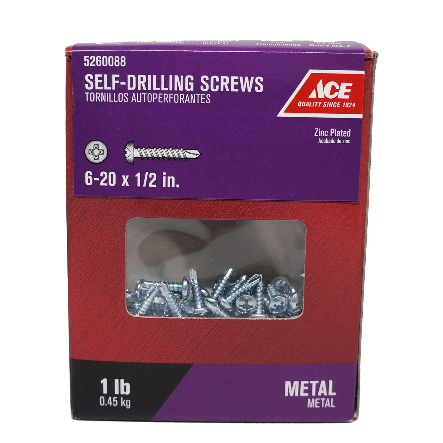 Ace  No. 6-20   x 1/2 in. L Phillips  Pan Head Zinc-Plated  Steel  Self- Drilling Screws  1 lb.
