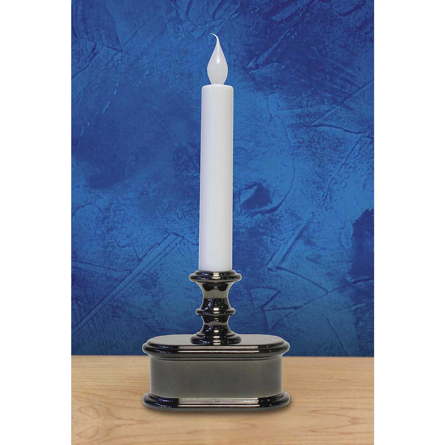 Celebrations  No Scent Polished Nickel  Auto Sensor  Candle  9 in. H