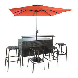 Living Accents  Brown  Steel  Modern  Bar Furniture