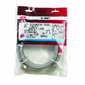 Ace  1/2 in. FIP   x 1/2 in. Dia. FIP  Braided Stainless Steel  48 in. Supply Line