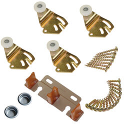 Johnson Hardware  Brass-Plated  Brown/White  Metal  By-Pass Part Set  50 pc.