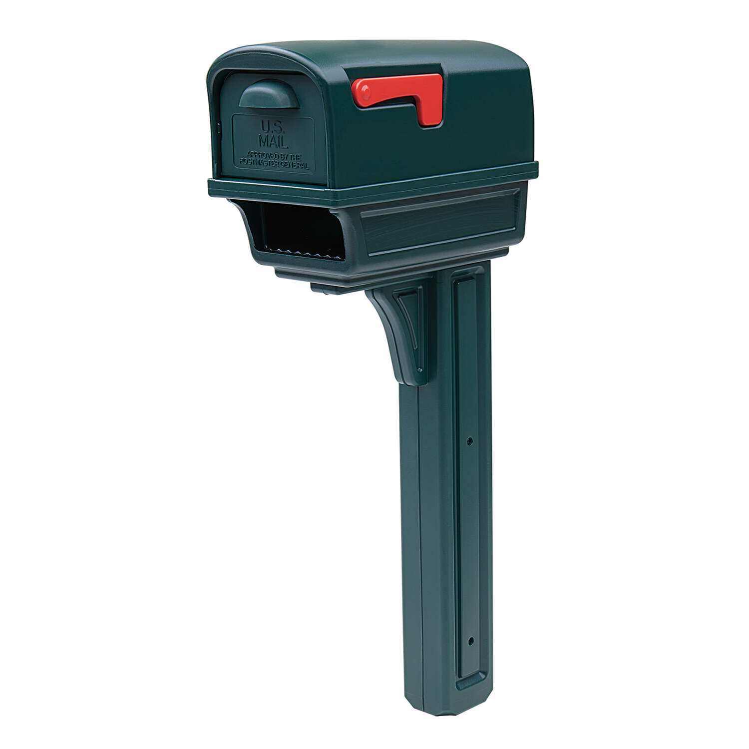 Gibraltar Mailboxes Gentry Classic Plastic Post Mount Green Mailbox