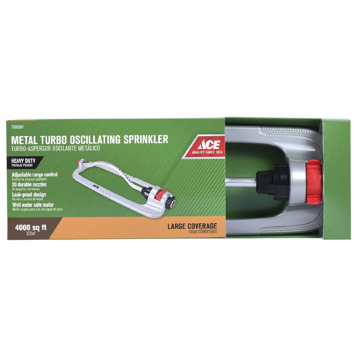 Ace  Sled Base  Oscillating Sprinkler  Metal  3600 sq. ft.