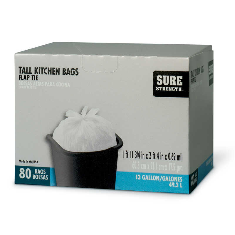 Sure Strength  13 gal. Tall Kitchen Bags  Flap Tie  80 pk