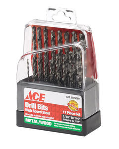 Ace  Multi Size  Dia. x Multiple  L High Speed Steel  Drill Bit Set  17 pc.
