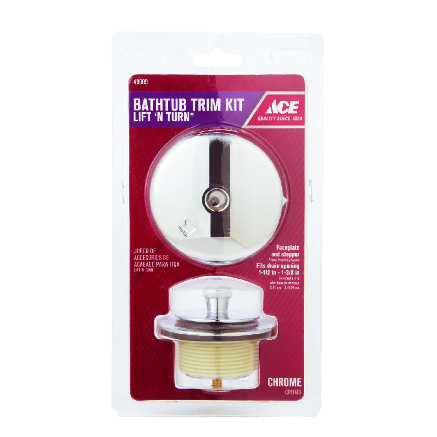 Ace  Lift N Turn Bath Drain Trim Kit  1  Classic  Chrome Plated Finish Zinc Material