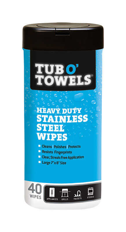 Tub O' Towels  Heavy Duty Stainless Steel Wipes  40 pk