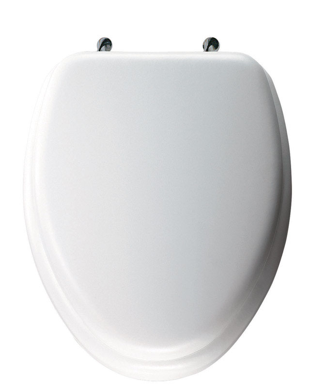 Mayfair  Elongated  White  Vinyl  Toilet Seat