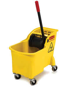 Rubbermaid  31 qt. Wheeled Wringer Bucket  Yellow