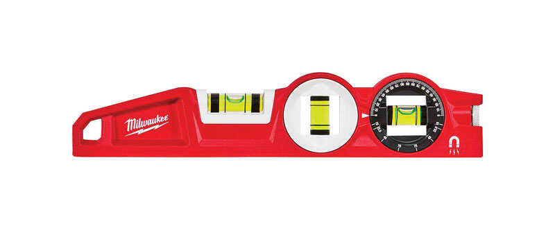 Milwaukee  10 in. Die Cast  Magnetic 360 Degree Locking Vial  Torpedo  Level  3 vial