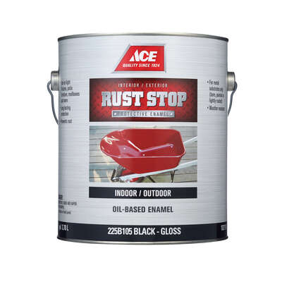 Ace  Rust Stop  Indoor / Outdoor  Gloss  Black  Oil-Based Enamel  Rust Preventative Paint  1 gal.