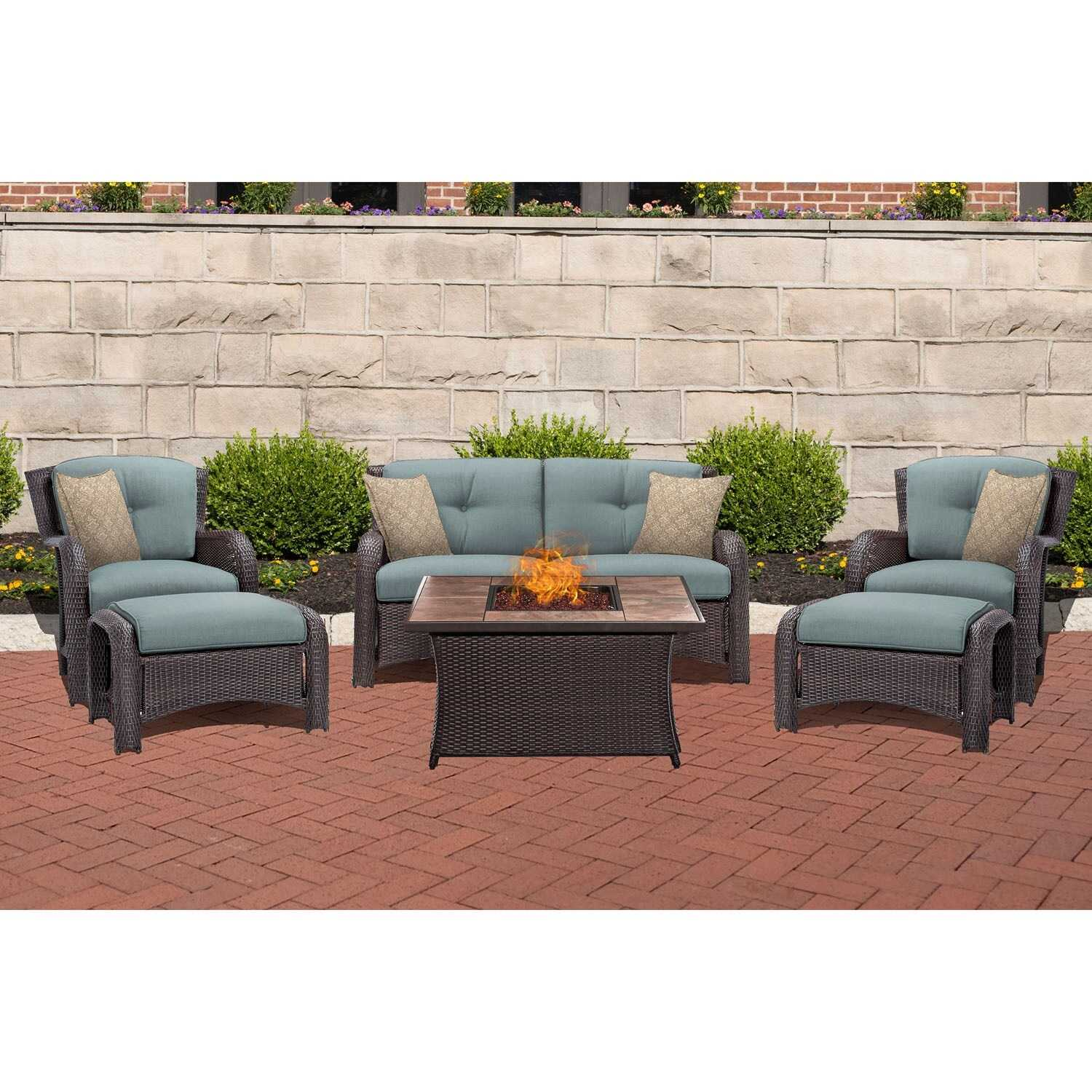 Hanover  Strathmere  6 pc. Espresso  Steel  Firepit Seating Set  Blue