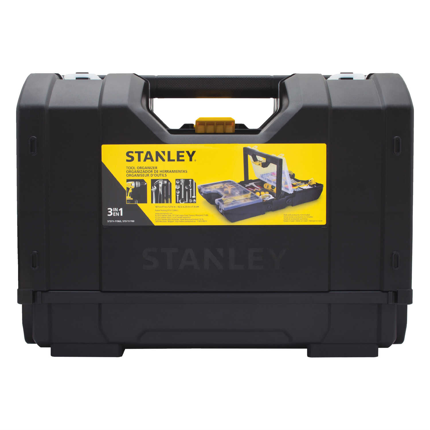 Stanley  16 in. Plastic  Tool Box Organizer  9 in. W x 12 in. H Black