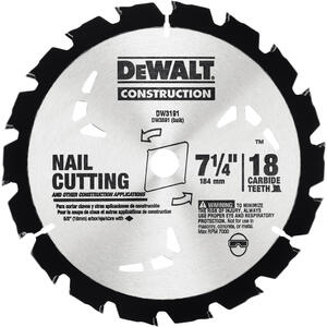 DeWalt  7-1/4 in. Dia. x 5/8 in.  Carbide Tipped  Construction  Circular Saw Blade  18 teeth 1 pk