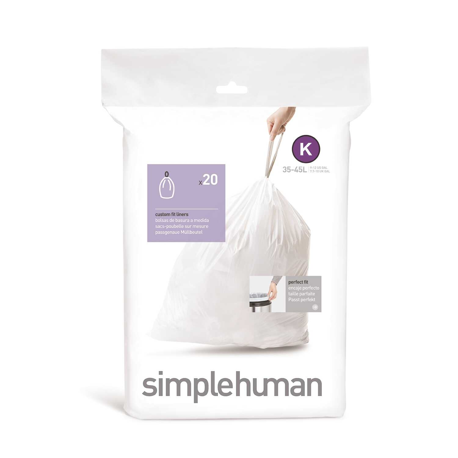 simplehuman  Custom Fit Code K  10 gal. Trash Bag Liner  Drawstring  20 pk