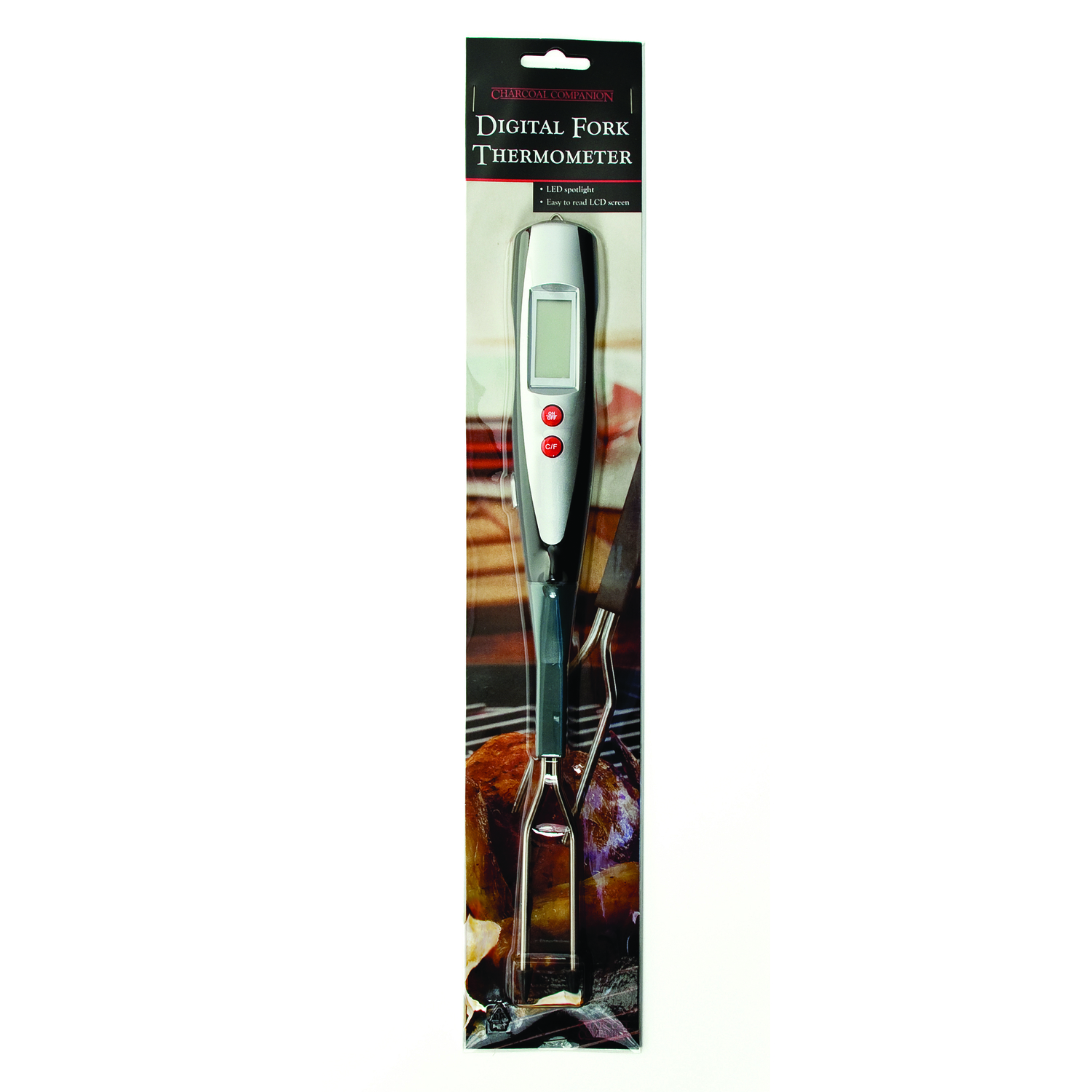 Charcoal Companion  Grill Fork Thermometer  1.69 in. W x 1.22 in. L x 14.96 in. H Stainless Steel