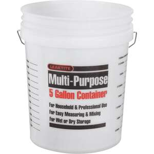 Leaktite  5 gal. Plastic  Clear  Bucket