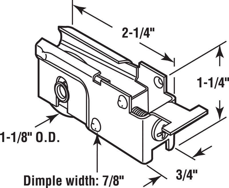 Prime-Line  1-1/8 in. Dia. x 3/4 in. L Steel  Roller Assembly  1