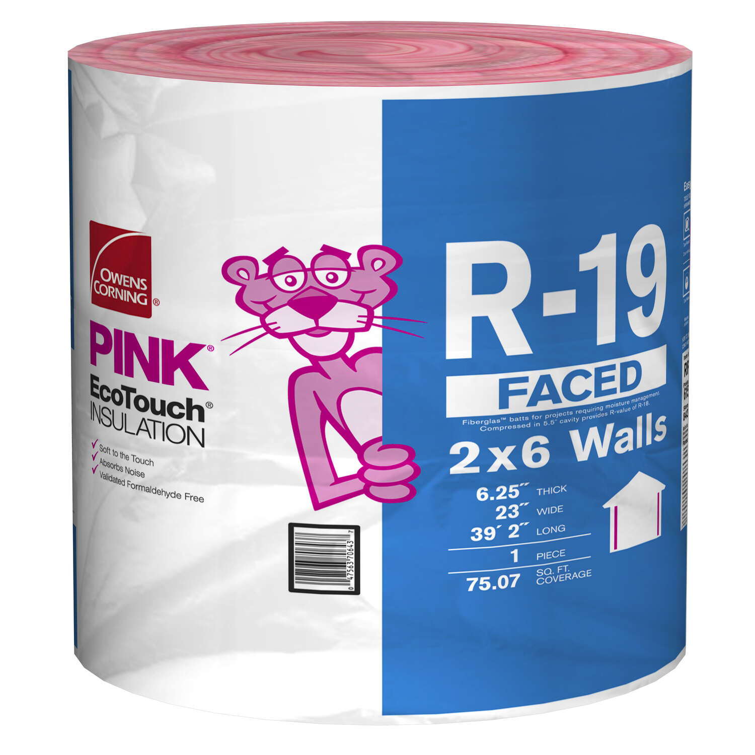 Owens Corning  Eco Touch  23 in. W x 470 in. L 19  Kraft Faced  Fiberglass  Insulation  Roll  75.07
