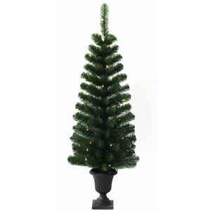 J & J Seasonal  Clear  Prelit 4 ft. Douglas Fir  Artificial Entrance Tree  50 lights 140 tips