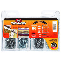 Hillman Walldog No. 10 x 1-1/4 in. L Phillips Pan Head Screw Kit 82 pk