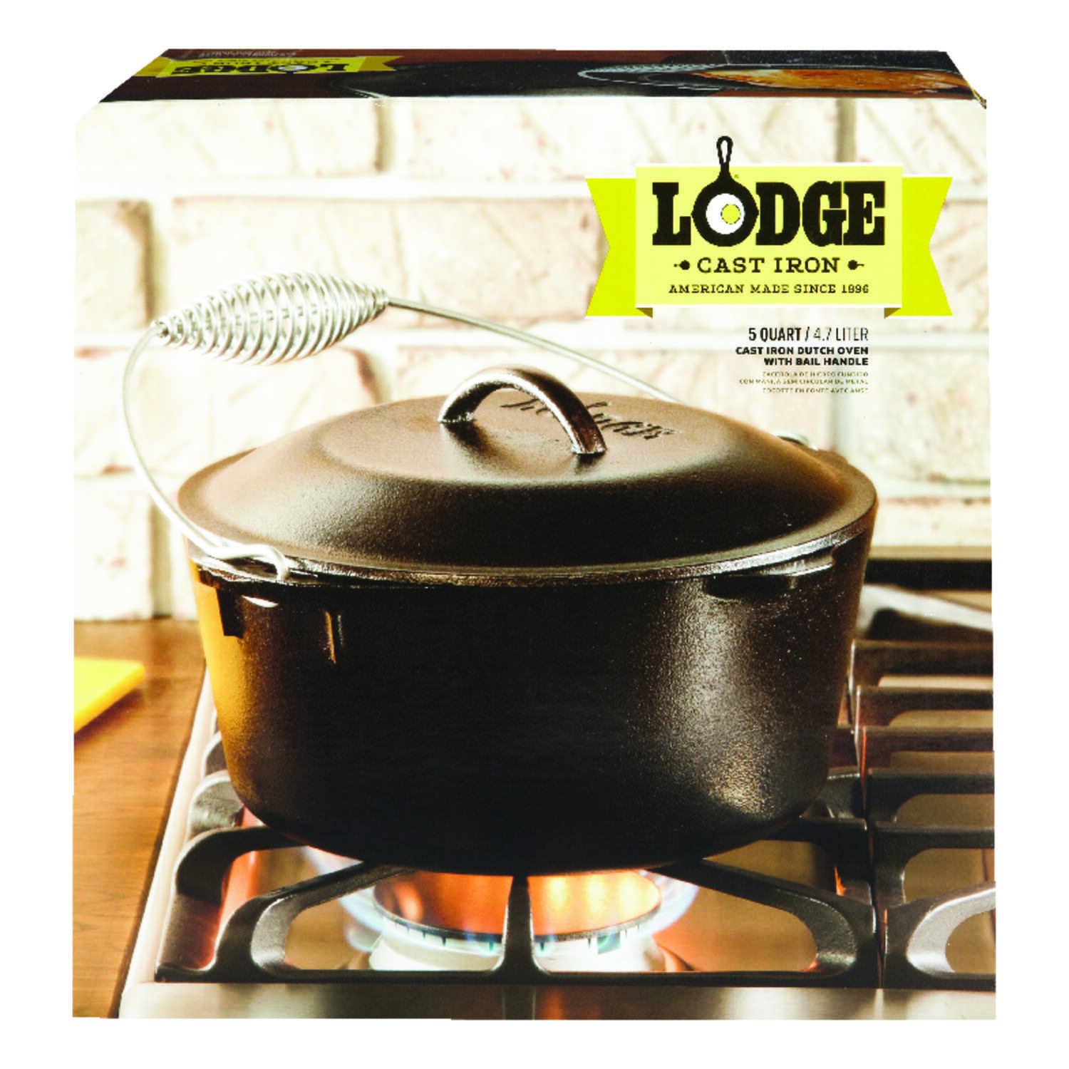 Lodge  Logic  Cast Iron  Dutch Oven  11 in. 5 Quarts  Black