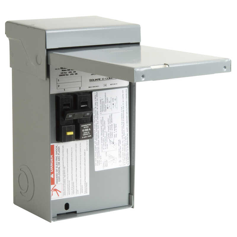 Square D  50 amps 120/240 volt 2 space 4 circuits Bolt-On Mount  Main Lug Load Center