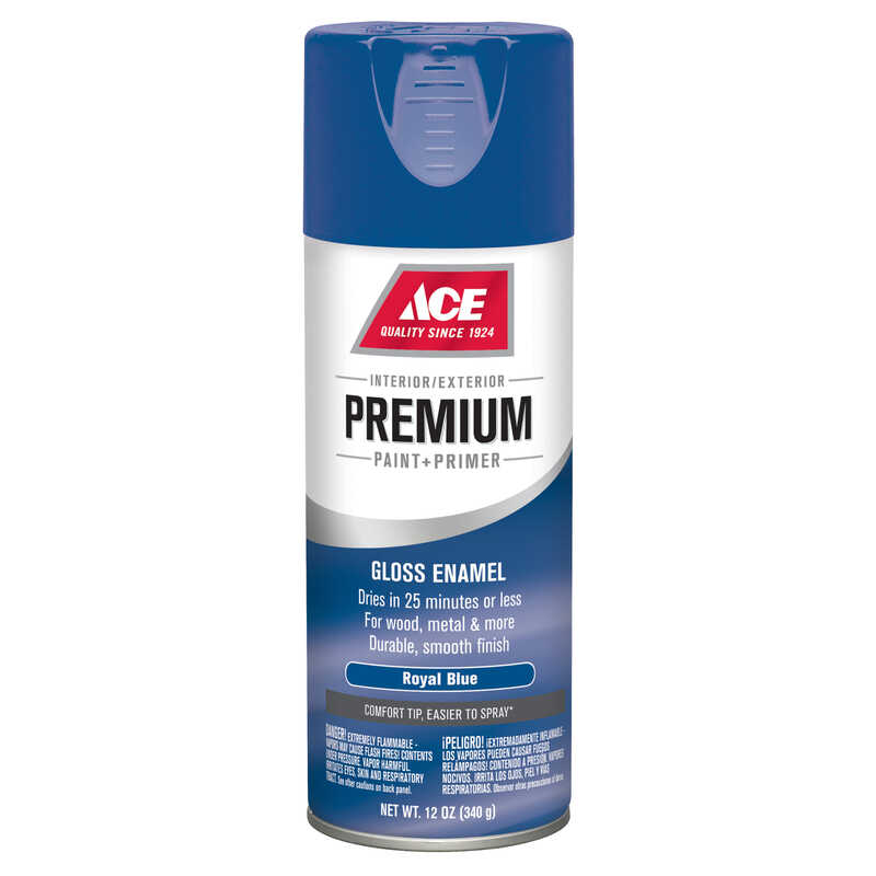 Ace  Premium  Gloss  Royal Blue  Enamel Spray Paint  12 oz.