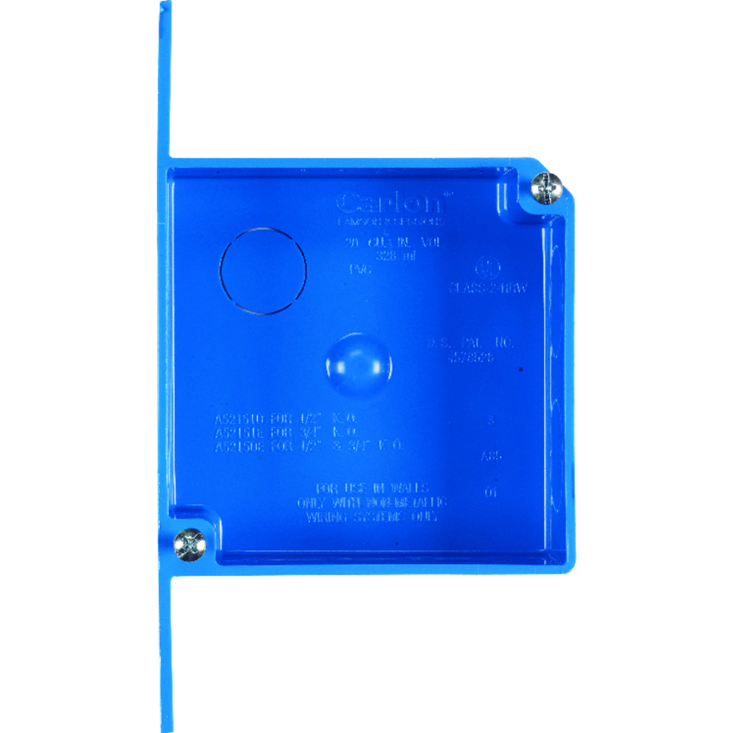 Carlon  4 in. Square  PVC  2 Gang  Blue  Outlet Box