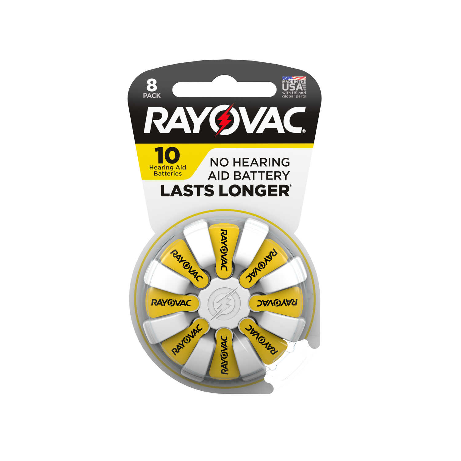 Rayovac  Zinc-Air  10  1.45 volt Hearing Aid Battery  8 pk
