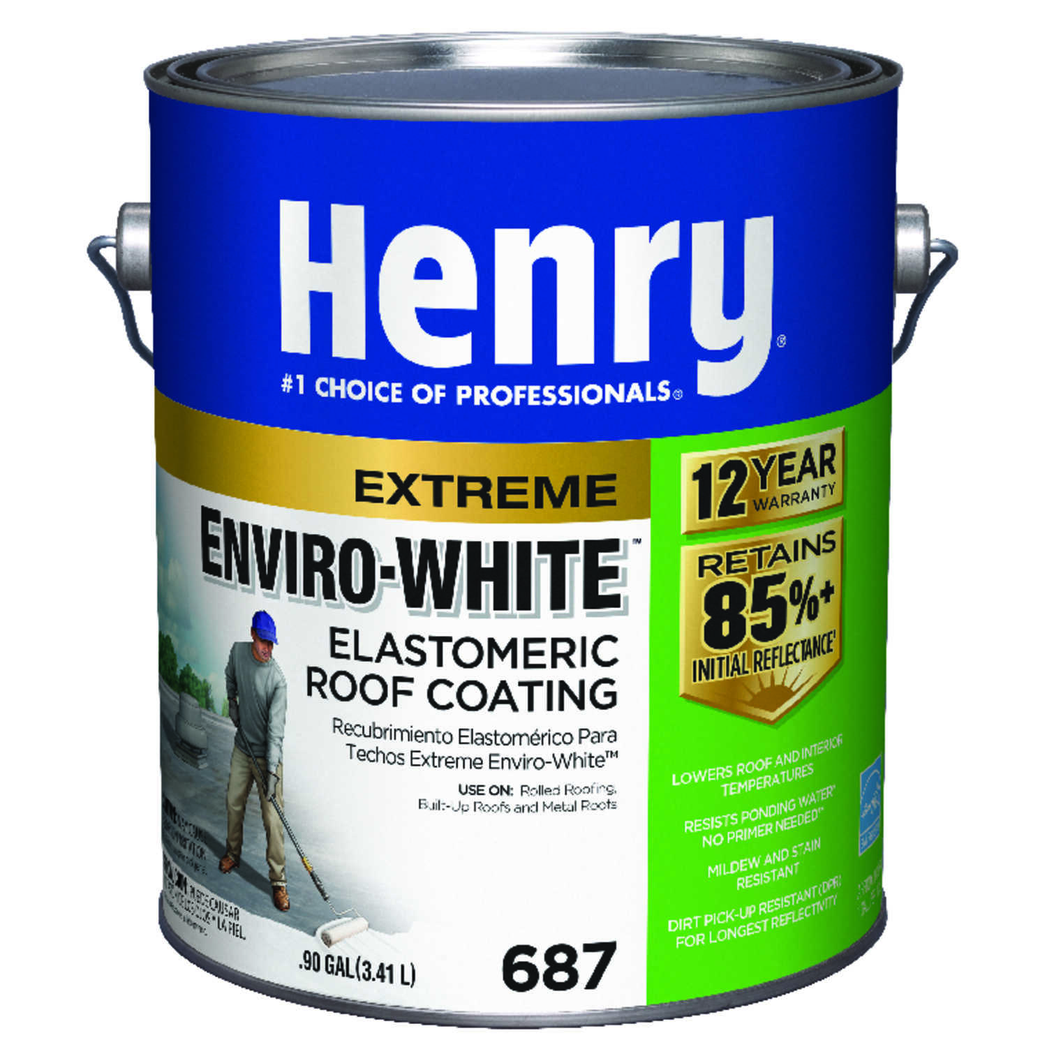 Henry  Smooth  White  Water Based  Roof Coating  1 gal.