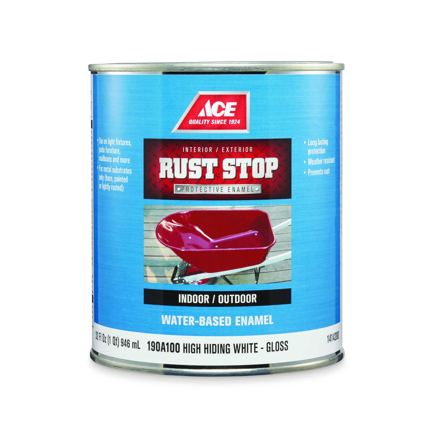 Ace  Rust Stop  Indoor and Outdoor  Gloss  White  Rust Prevention Paint  1 qt.