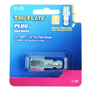 Tru-Flate  Steel  Air Plug  1/4  1/4 in. Female  1/4  1 pc. FNPT  Female