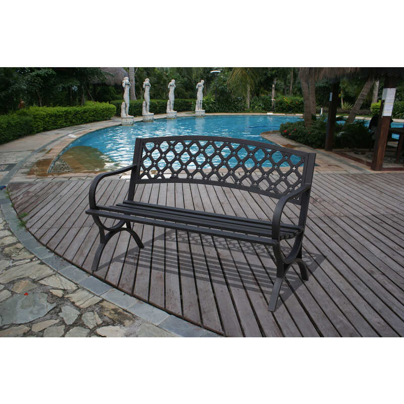 Enjoyable Living Accents Ornate Park Bench Steel 33 5 In H X 50 4 In Evergreenethics Interior Chair Design Evergreenethicsorg