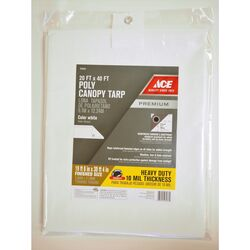 Ace  40 ft. W x 20 ft. L Heavy Duty  Polyethylene  Canopy Tarp  White