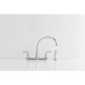 Moen  Banbury  Two Handle  Chrome  Kitchen Faucet  Side Sprayer Included