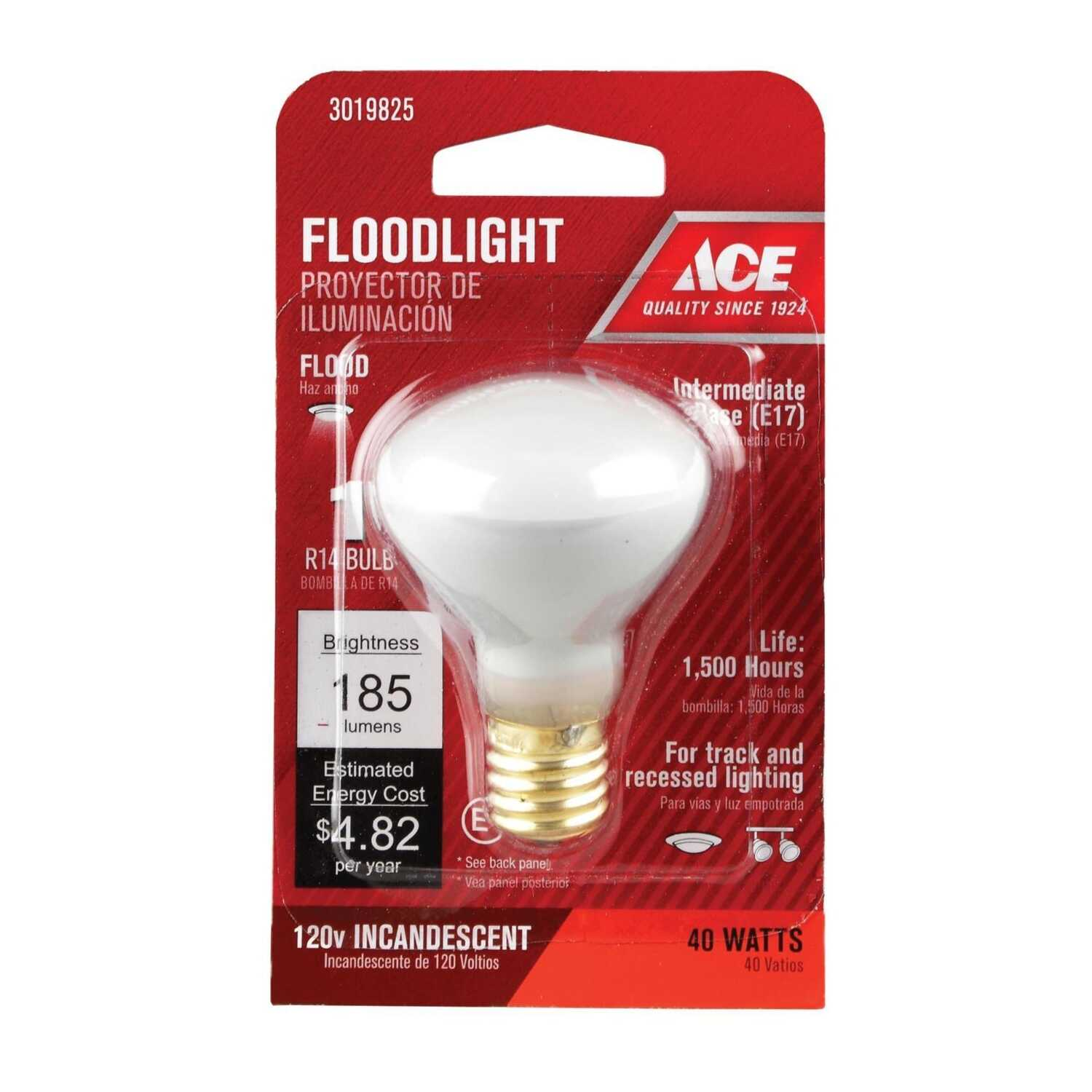 Ace  40 watts R14  Incandescent Light Bulb  280 lumens E17  Soft White  Floodlight  1 pk