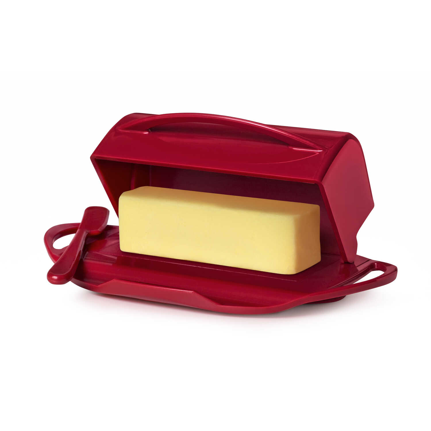 Butterie  5.5 in. W x 9 in. L Red  Plastic  Butter Dish