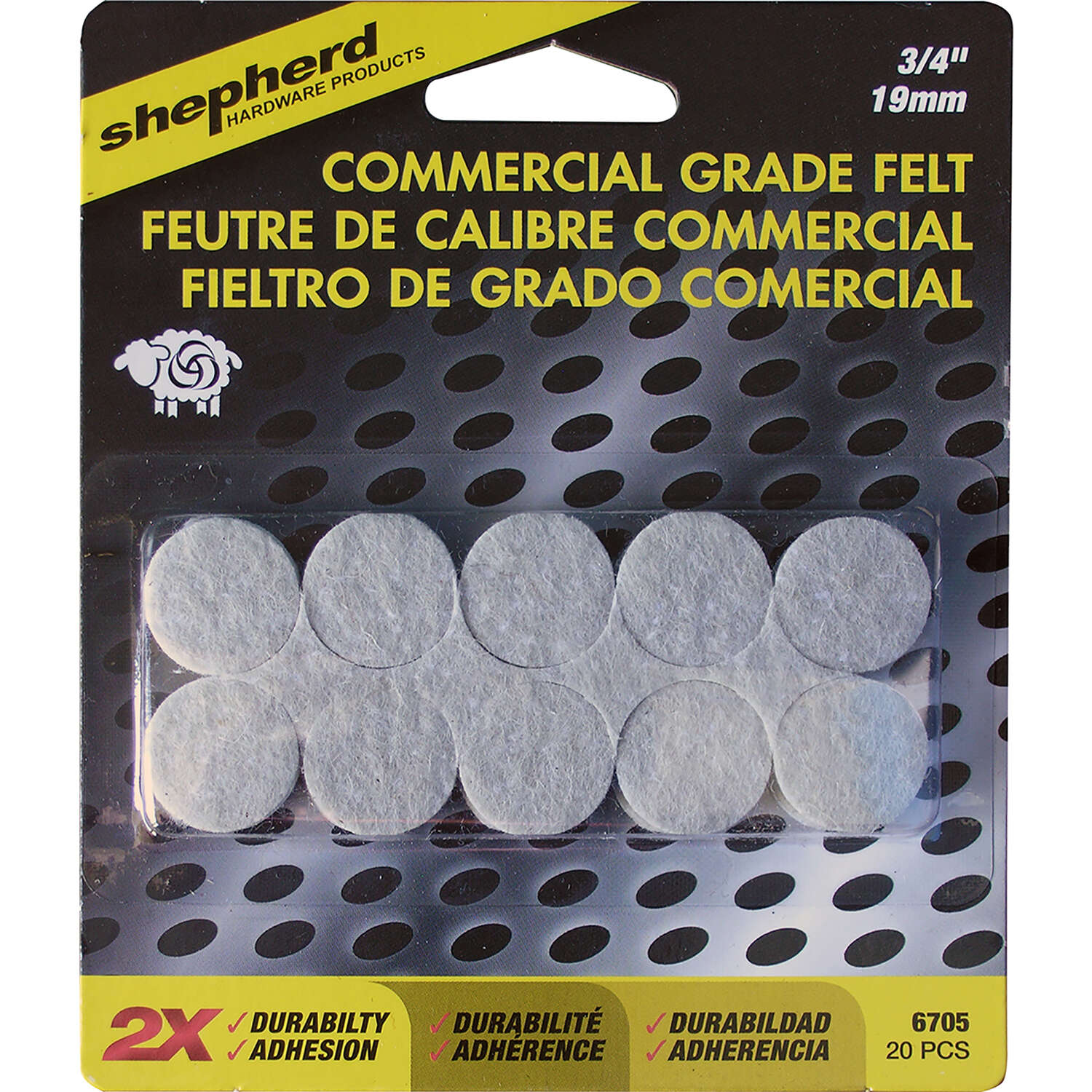 Shepherd Felt Protective Pad Brown 3/4 in. W 20 pk