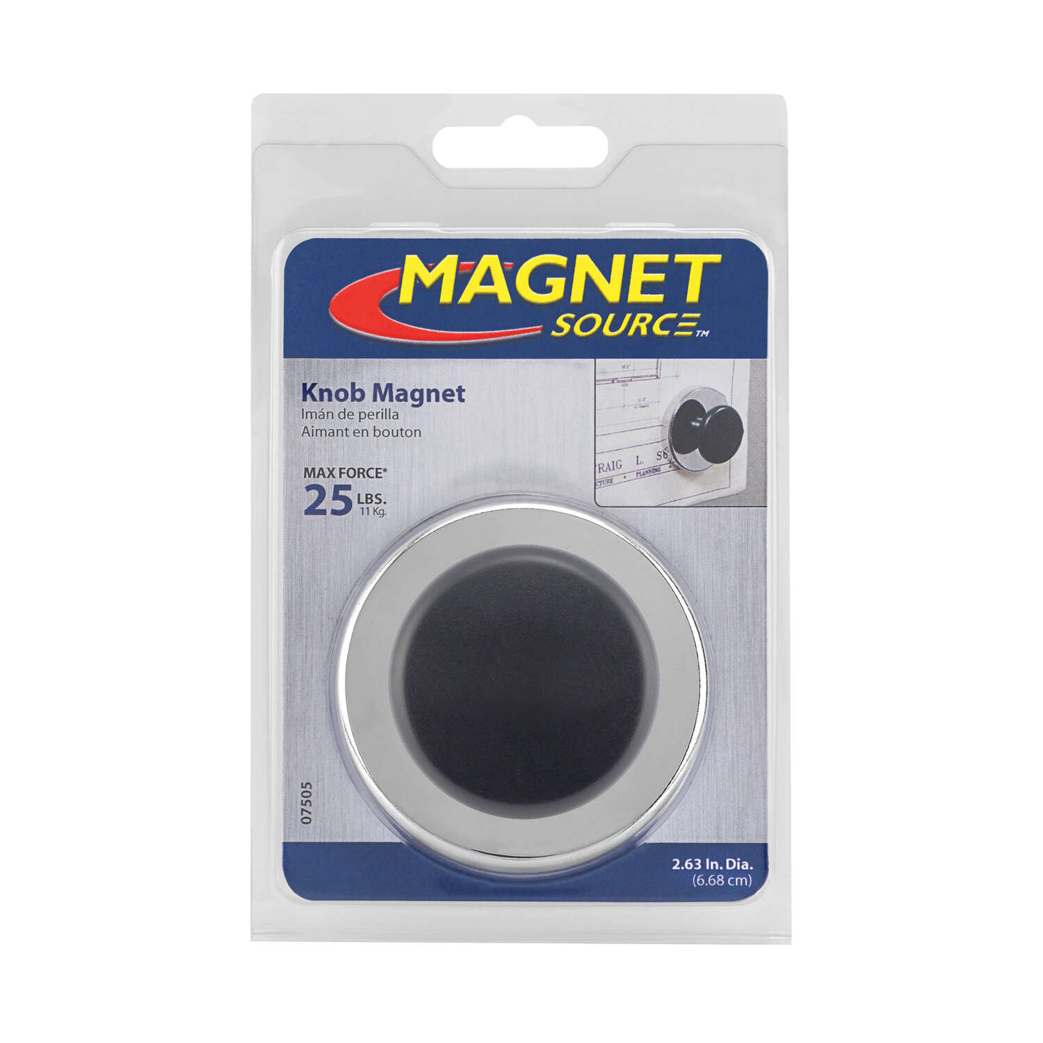 Master Magnetics  The Magnet Source  1 in. Ceramic  Knob Magnet  25 lb. pull 3.4 MGOe Black  1 pc.